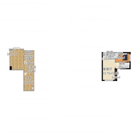 盛景红海河4室3厅3卫2厨118.00㎡户型图