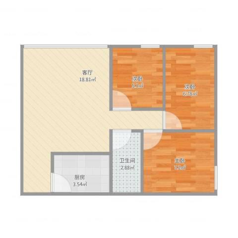 东城花园3室1厅1卫1厨61.00㎡户型图