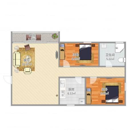 河畔花园2室1厅1卫1厨88.00㎡户型图