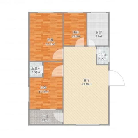 亲仁路25号3室1厅2卫1厨150.00㎡户型图