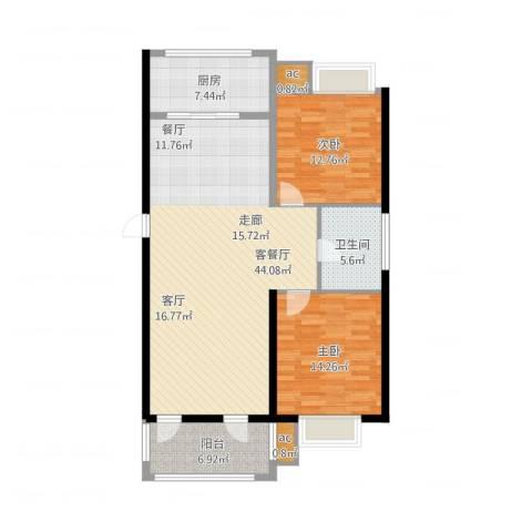 和顺中央花城2室2厅1卫1厨130.00㎡户型图