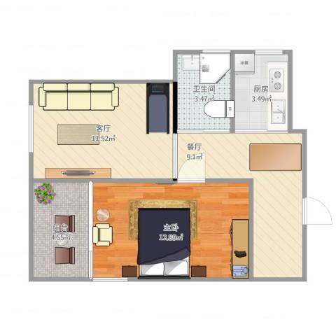 田林十一村1室2厅1卫1厨62.00㎡户型图