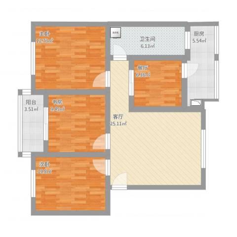 东篱花园3室2厅1卫1厨114.00㎡户型图