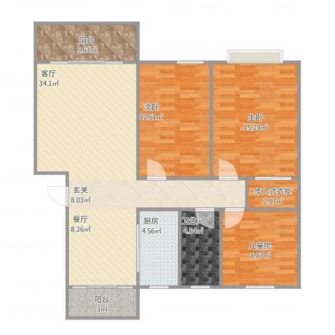 嘉和月亮湾3室1厅1卫1厨123.00㎡户型图