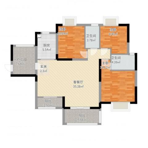 香槟壹号3室2厅2卫1厨140.00㎡户型图