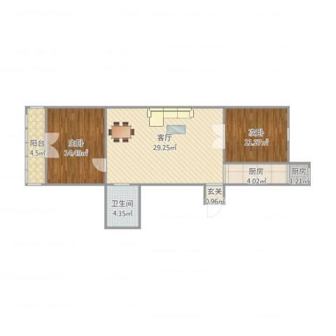 万隆桃香园2室1厅1卫2厨94.00㎡户型图