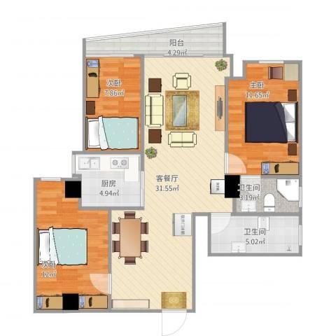 银燕大厦3室2厅2卫1厨110.00㎡户型图