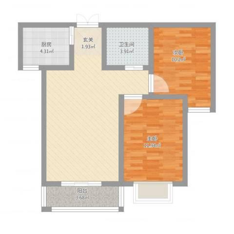 鼎原时代2室2厅1卫1厨86.00㎡户型图