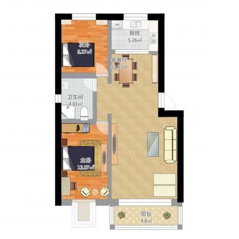 城市花园2室2厅1卫1厨97.00㎡户型图