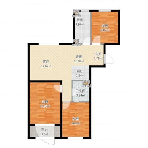 中国铁建・环保嘉苑3室2厅3卫2厨103.00㎡户型图