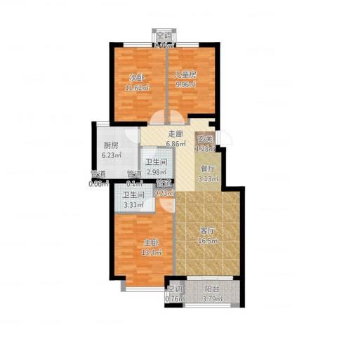 桥机嘉园3室2厅2卫1厨115.00㎡户型图