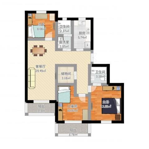 万兆家园3室4厅2卫1厨130.00㎡户型图