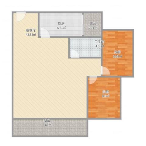 康怡花园2室2厅1卫1厨109.00㎡户型图