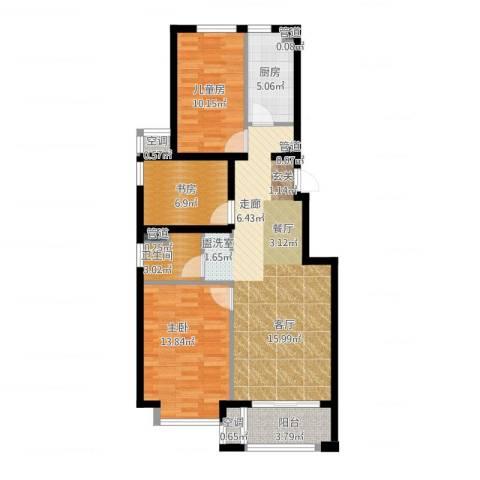 桥机嘉园3室2厅1卫1厨105.00㎡户型图