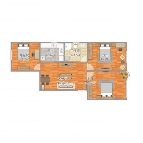 建中路171弄小区3室2厅1卫1厨86.00㎡户型图