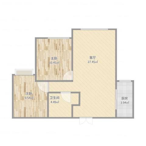 大连湾宇圣明珠2室1厅1卫1厨75.00㎡户型图