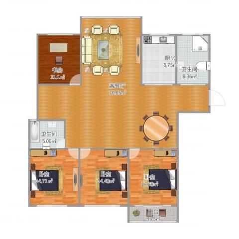 河景花园1室2厅2卫1厨200.00㎡户型图