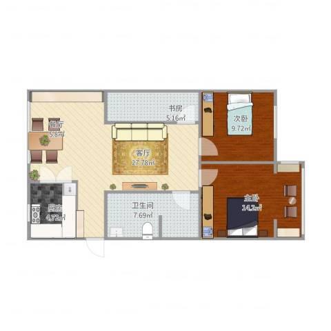汉阳区玫瑰苑小区3室1厅1卫1厨94.00㎡户型图