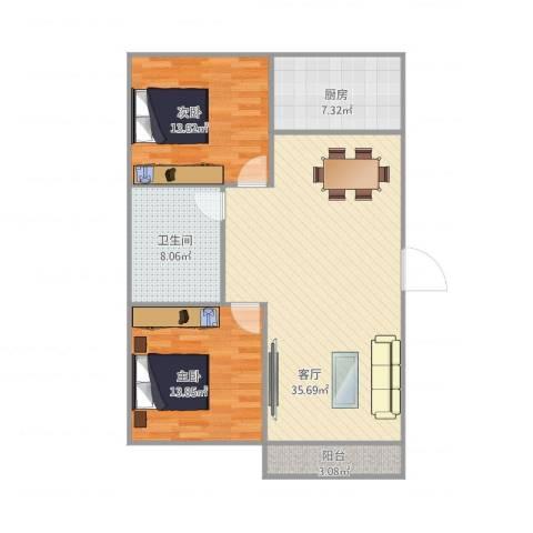 滨海龙城2室1厅1卫1厨109.00㎡户型图