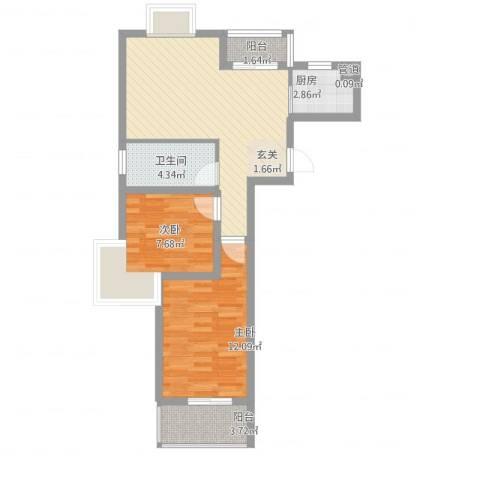 摩尔尚城2室2厅1卫1厨62.00㎡户型图