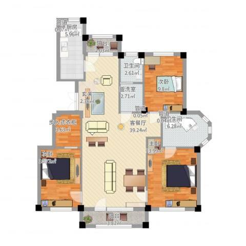 三鼎春天3室2厅2卫1厨142.00㎡户型图