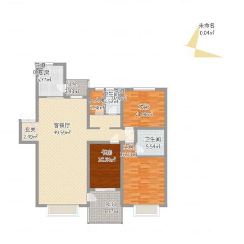 中海水岸春城3室2厅2卫1厨162.00㎡户型图