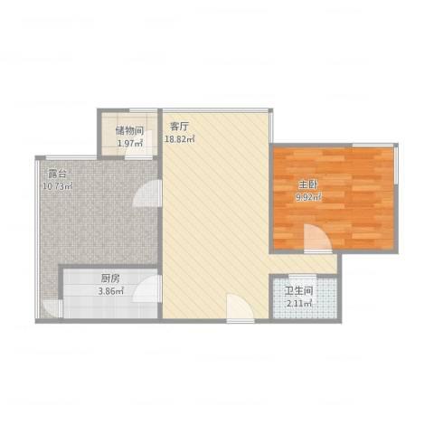 城南嘉园1室1厅1卫1厨65.00㎡户型图