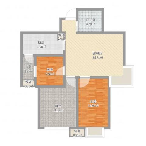 新里魏玛公馆2室2厅1卫1厨114.00㎡户型图