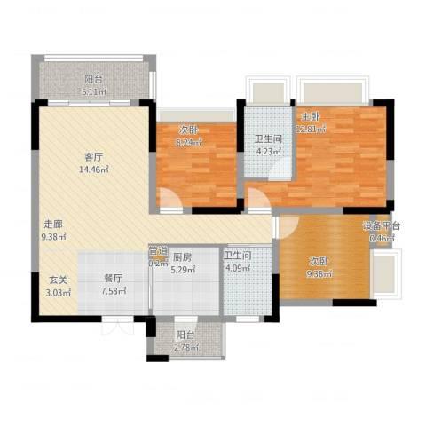 美丽湾畔花园3室2厅4卫1厨122.00㎡户型图