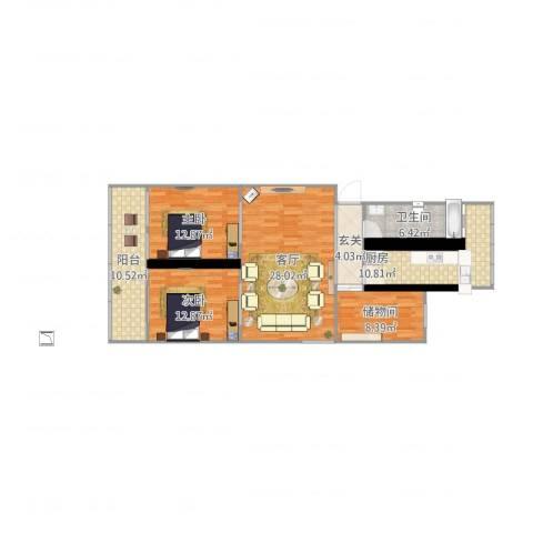 厂洼街23号院1号楼4门3012室1厅1卫1厨131.00㎡户型图