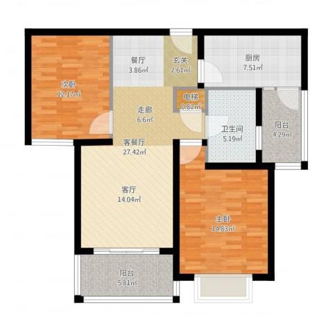 宝业大坂风情2室2厅1卫1厨111.00㎡户型图