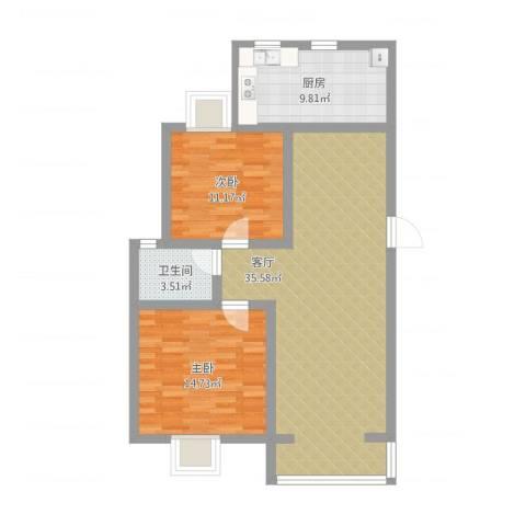 畅园2室1厅1卫1厨108.00㎡户型图