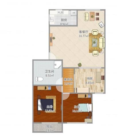 佳韵园安置房3室2厅1卫1厨112.00㎡户型图