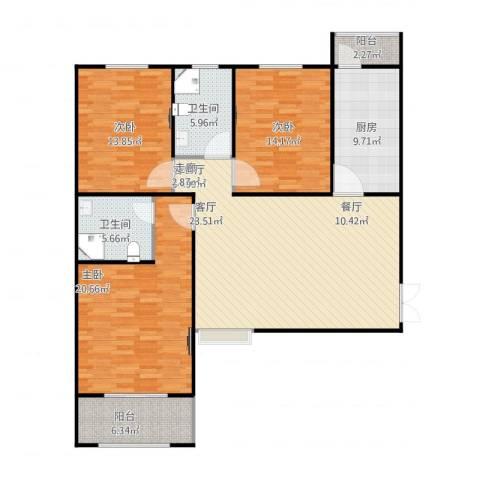 恒隆广场3室2厅2卫1厨152.00㎡户型图