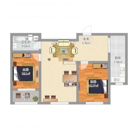 永和公馆2室2厅1卫1厨99.00㎡户型图