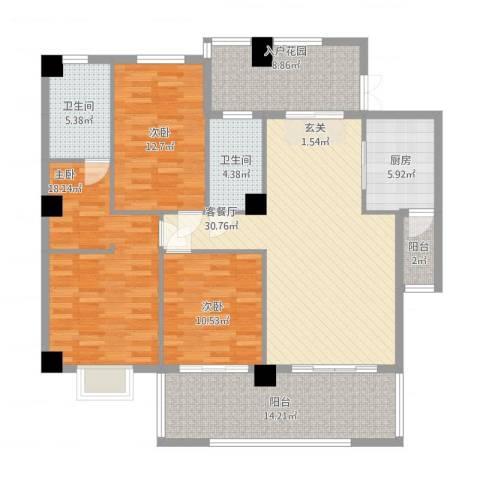 豪岗花园岗桥大厦3室2厅2卫1厨161.00㎡户型图