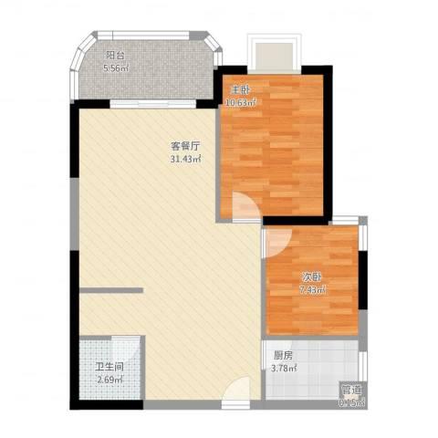 安溪龙湖8882室2厅1卫1厨87.00㎡户型图