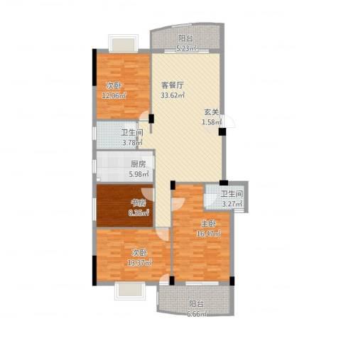 宏源大景城4室2厅2卫1厨151.00㎡户型图