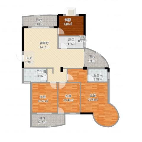 宏源大景城4室2厅2卫1厨164.00㎡户型图