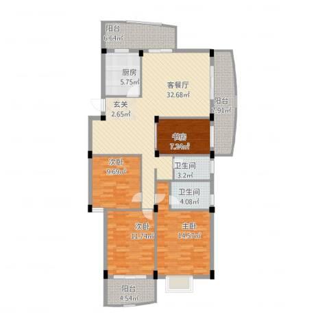 宏源大景城4室2厅2卫1厨152.00㎡户型图