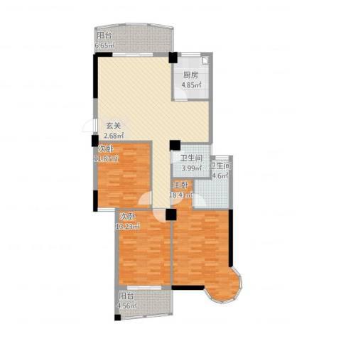 宏源大景城3室2厅2卫1厨138.00㎡户型图
