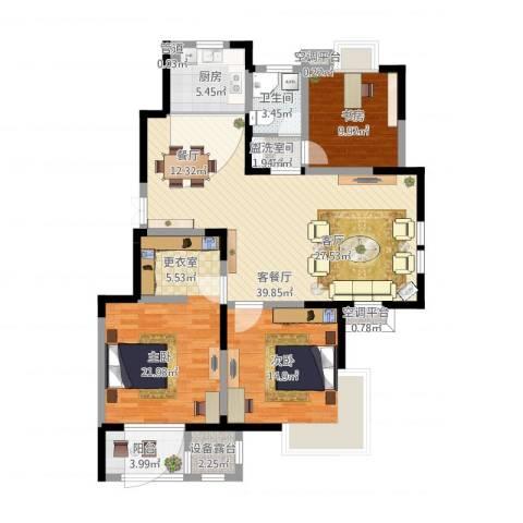 武清五一阳光3室2厅4卫3厨150.00㎡户型图