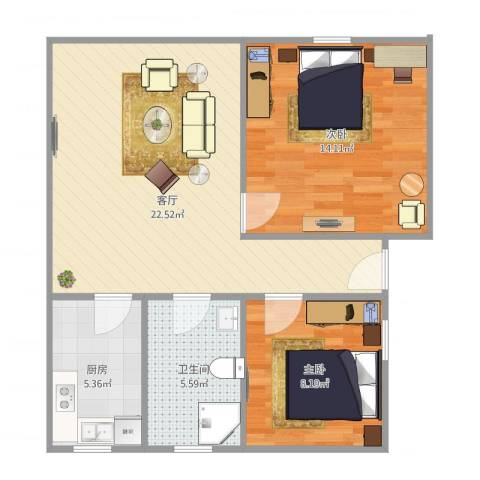 延吉东路1312室1厅1卫1厨75.00㎡户型图