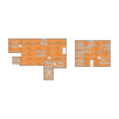 南环公寓2室7厅2卫1厨209.00㎡户型图