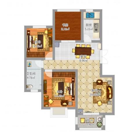 金桥普林斯顿3室1厅1卫1厨104.00㎡户型图