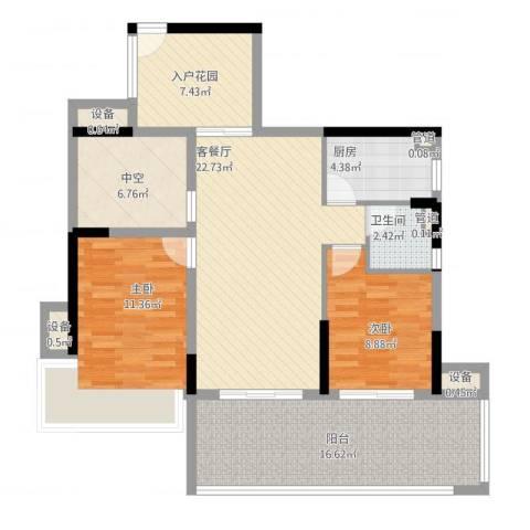 深业东城上邸2室2厅1卫1厨119.00㎡户型图