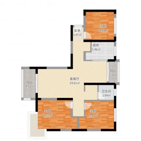 三湘森林海尚3室2厅1卫1厨121.00㎡户型图