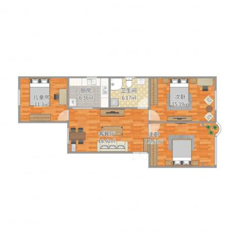 建中路171弄小区3室2厅1卫1厨99.00㎡户型图