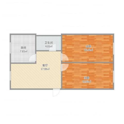 修造厂张姐2室1厅1卫1厨82.00㎡户型图