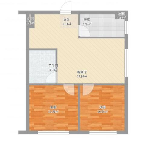 叠翠骏景2室2厅1卫1厨76.00㎡户型图
